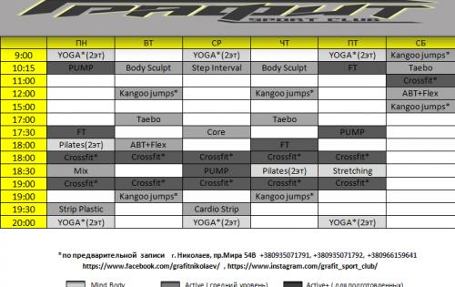 Расписание групповых занятий с 13.04.18